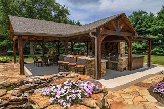 Outdoor Kitchen Pavilion Poolside with TV Fireplace Lla