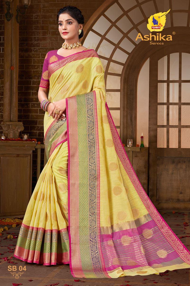 Yellow Color Zari Work Designer Cotton Silk Fabric Function Wear Saree