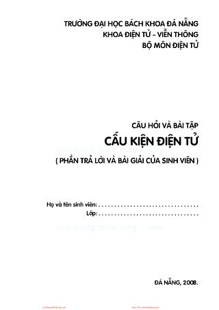 ĐHĐN.Câu Hỏi Và Bài Tập Cấu Kiện Điện Tử - Dư Quang Bình, 80 Trang.pdf