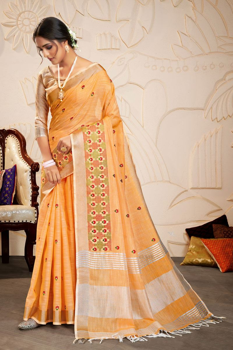 Peach Color Embroidered Linen Fabric Fancy Saree