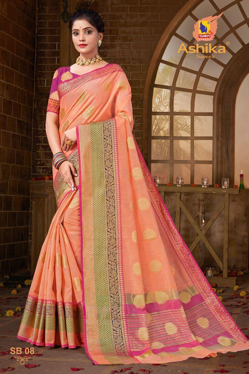 Peach Color Zari Work Designer Cotton Silk Fabric Function Wear Saree