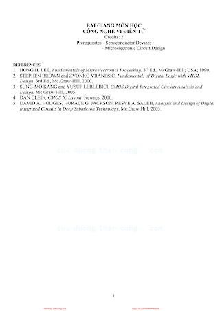 Bài Giảng Môn Học Công Nghệ Vi Điện Tử - Nhiều Tác Giả, 146 Trang.pdf