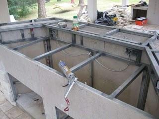 Steel Studs for Outdoor Kitchen Metal Bar Build