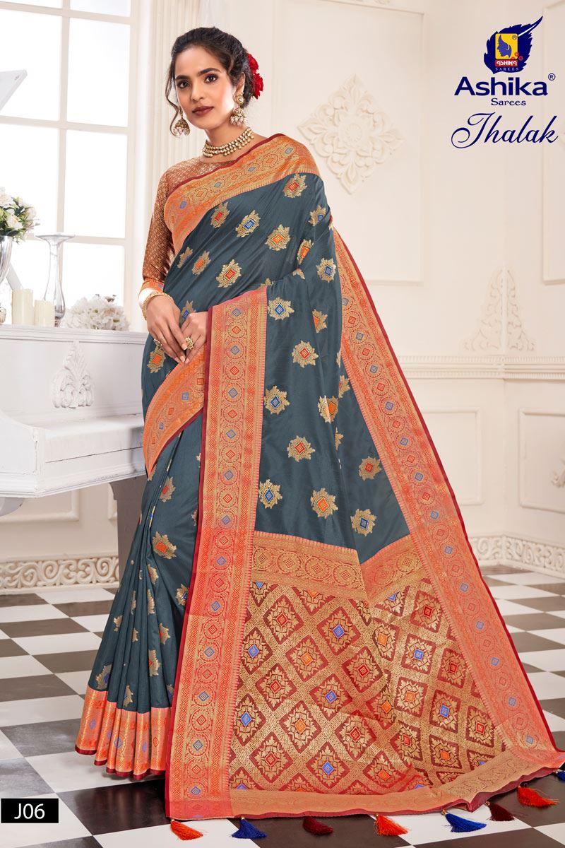 Grey Color Silk Fabric Weaving Work Designer Saree