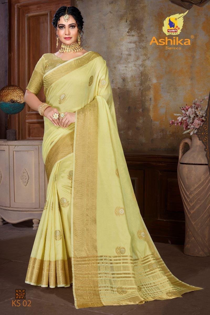 Yellow Colour Soft Mercerised Cotton Silk With Rich Gold And Silver Zari Butta