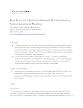 Task Force on Infant and Maternal Mortality Among African Americans Meeting