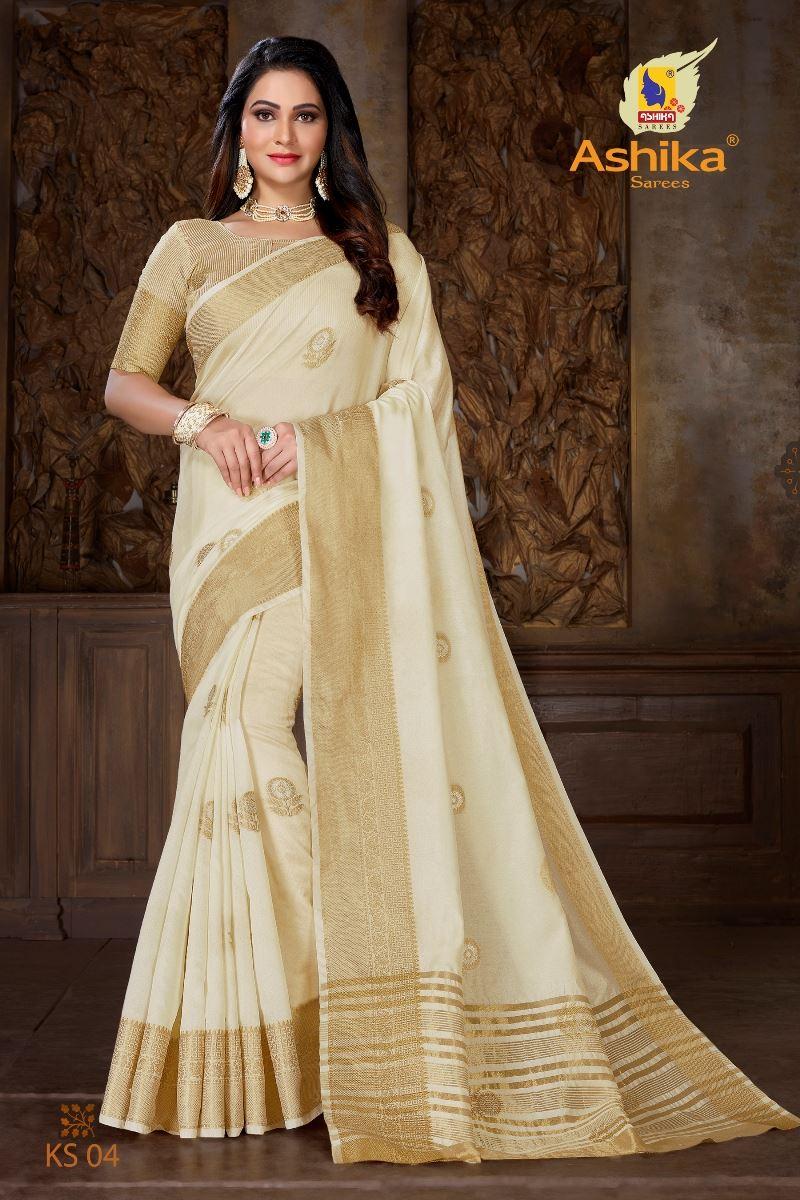 Off White Colour Soft Mercerised Cotton Silk With Rich Gold And Silver Zari Butta