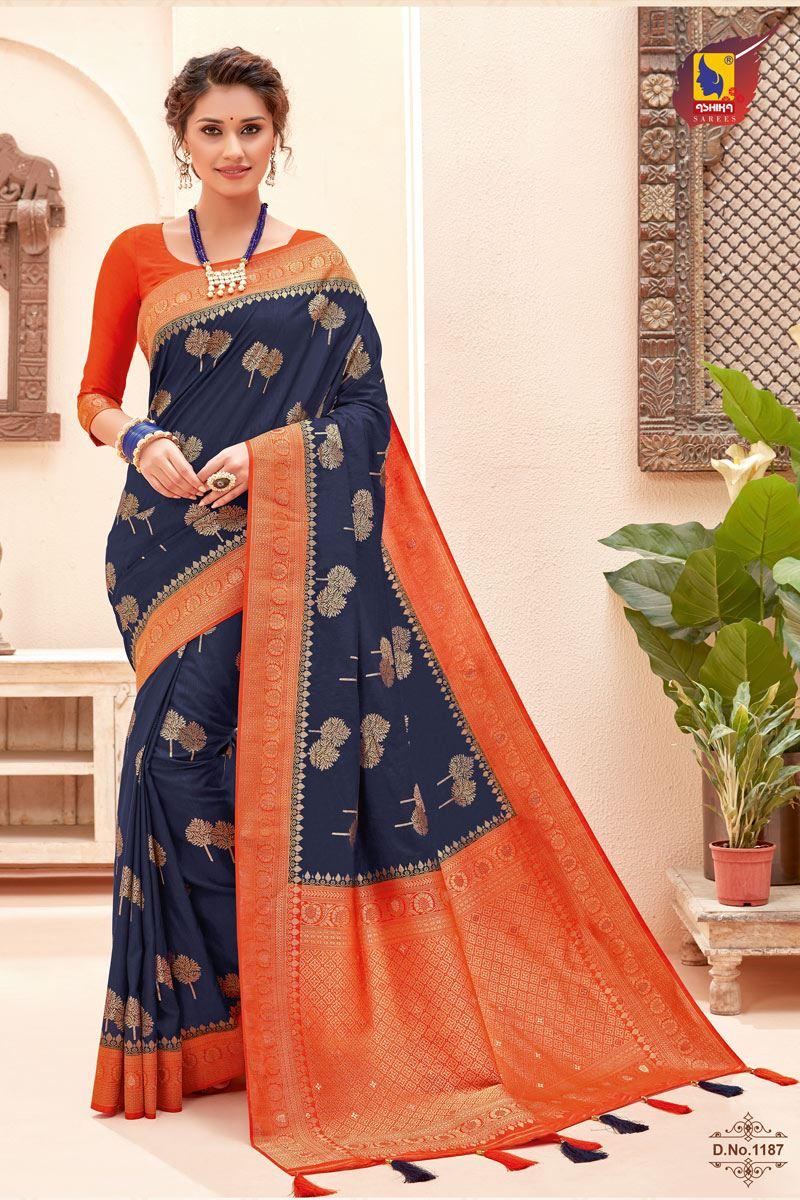 Navy Blue Color Silk Fabric Zari Work Sangeet Wear Fancy Saree