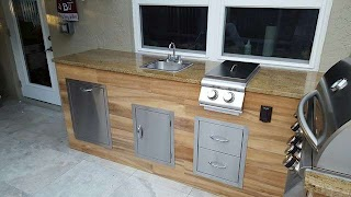 Tile Outdoor Kitchen Woodlook Bbq Modern Patio Miami By