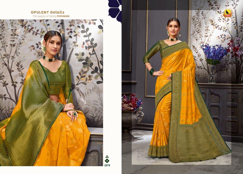 Gold Color Tussar Silk Fabric Fancy Saree