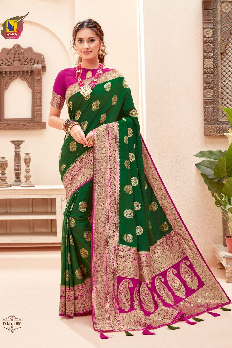 Dark Green Color Silk Fabric Zari Work Sangeet Wear Fancy Saree