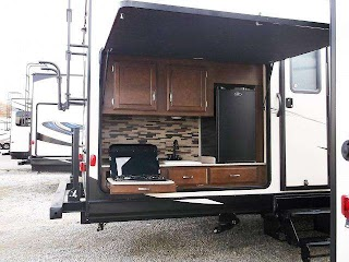 Travel Trailers with Bunks and Outdoor Kitchen Sport Trek 320vik Trailer Outside