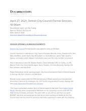 April 27, 2021, Detroit City Council Formal Session, 10:00am