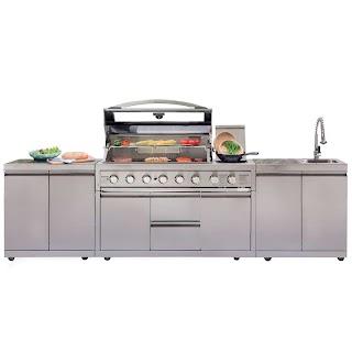 Bunnings Outdoor Bbq Kitchens Gasmate Platinum Iii Stainless Steel 6 Burner Kitchen