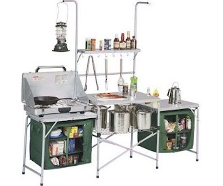 Outdoor Kitchen Camping Portable Stove Mobile Folding Tall Table