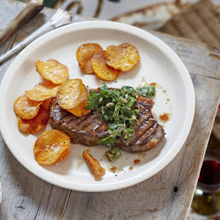 Steaks with Salsa Verde and Sweet Potato Chips