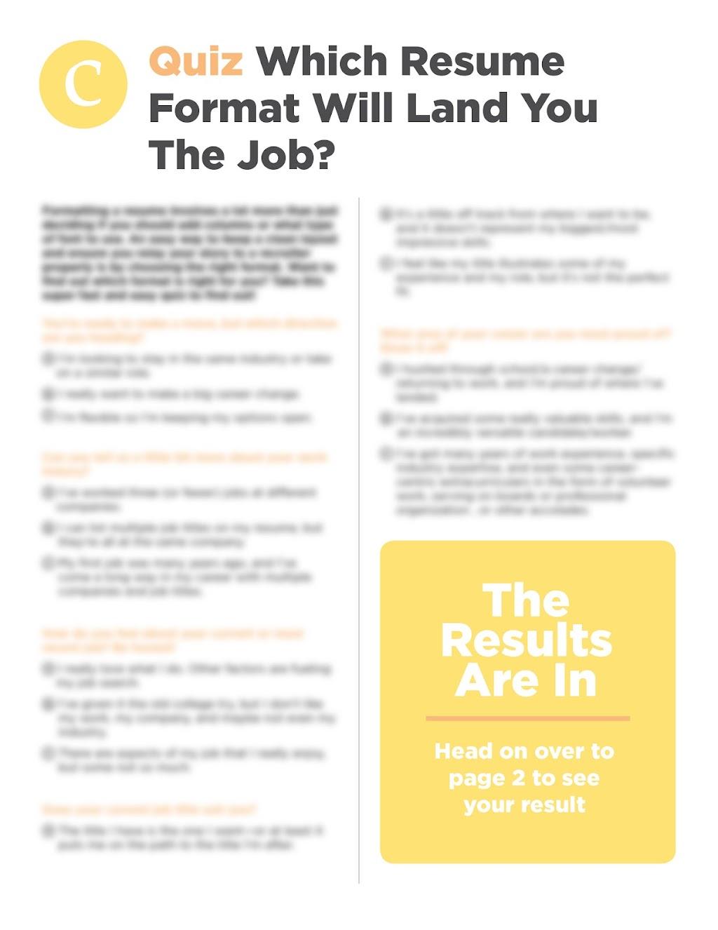 Resource Resume Quiz