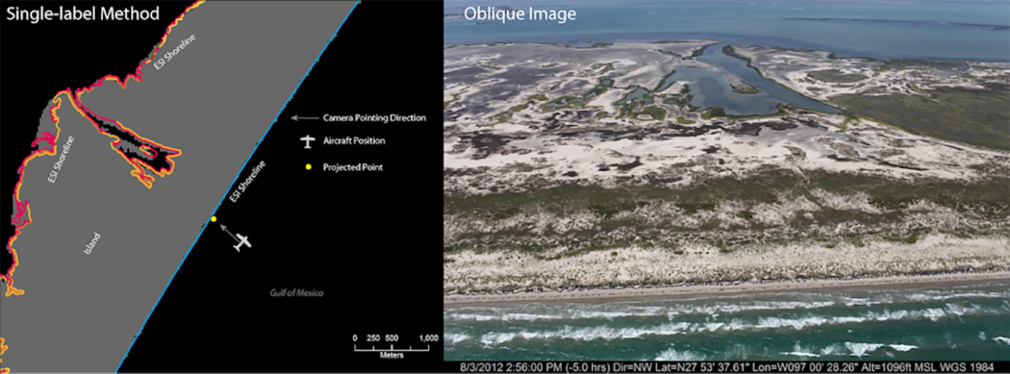 Map showing single-label method used to join the aircraft's position with the nearest ESI shoreline from the image on the left. Image was taken from the aircraft's position in the map (Note: the projected point was assigned the value of the closest shoreline point to the plane/camera's location; however, this photo contains multiple shoreline types).