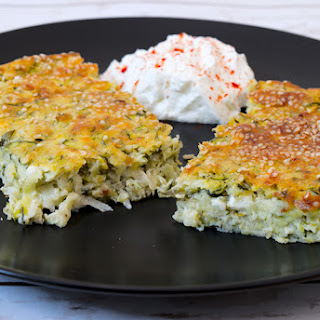 Baked Zucchini with Goat Cheese, Feta and Yoghurt.