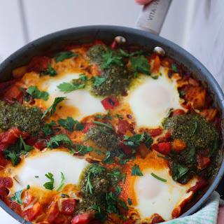 Easy Pesto & Egg Shakshuka.