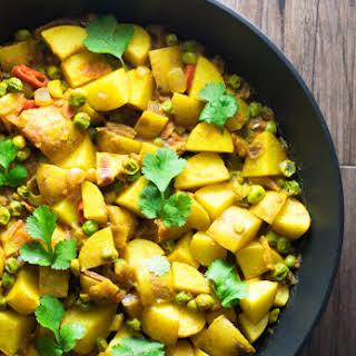 Vegan Indian Potato & Pea Curry.