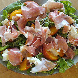 Roast Peach and Parma Ham Salad with Creamy Mozzarella