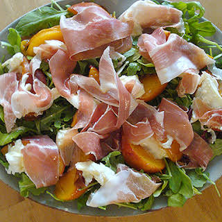 Roast Peach and Parma Ham Salad with Creamy Mozzarella.