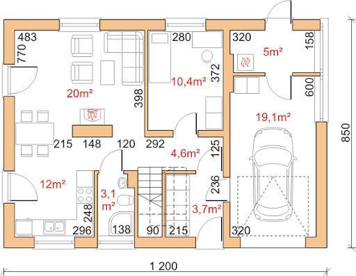 Dom przy Głogowej 3 - Rzut parteru