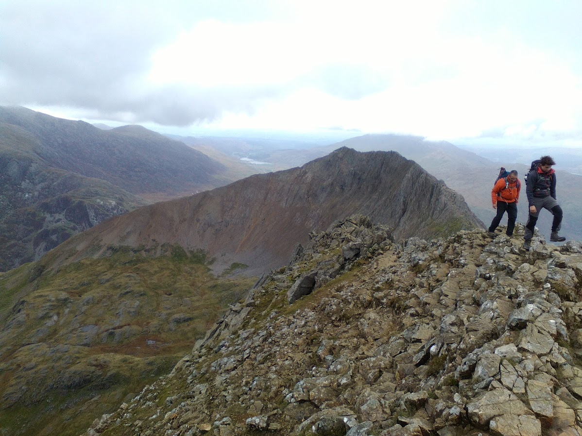 Looking back at Crib Goch