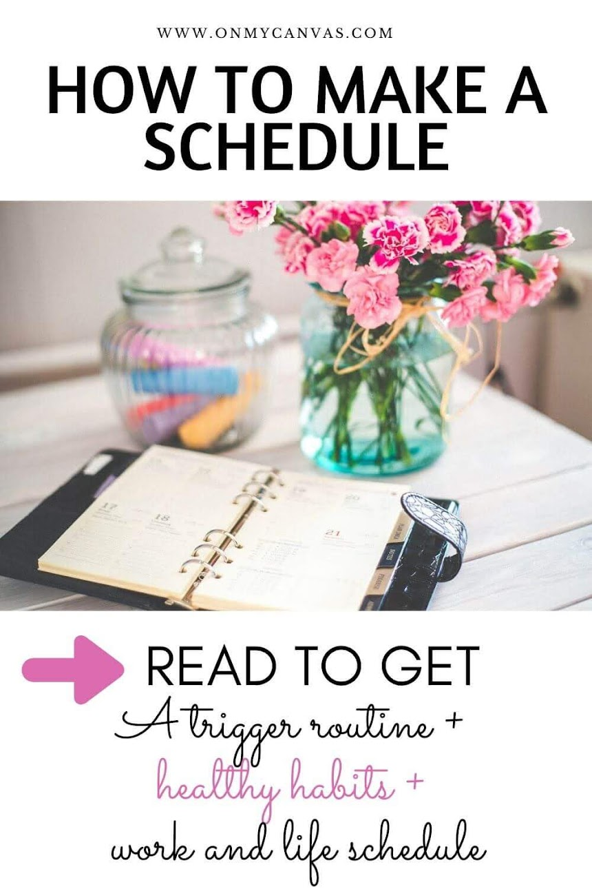 Wondering how to make a schedule and stick to it? Read this guide that lists an adaptive morning trigger routine that will put you in the right mindset, healthy habits to follow daily, and a efficient work and life schedule. how to make a successful schedule | importance of schedule | daily routine | time management | how to make a daily schedule for yourself | how to make a work schedule #dailyroutine #healthyhabits #healthylife #lifehacks #workschedule #personalgrowth #lifegoals #success