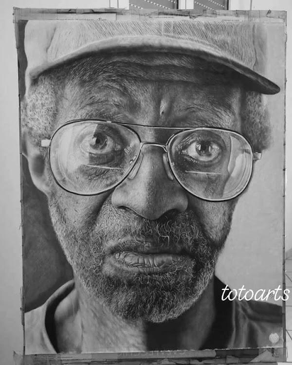 A hyperrealistic portrait of an elderly man