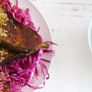 Roast Turmeric Cinnamon Dukkah Eggplant With Pickled Red Cabbage.