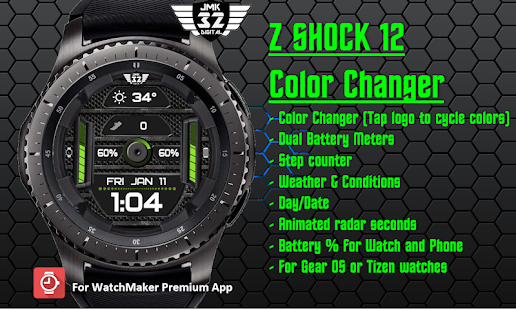 Download Z SHOCK 12 color changer watchface for WatchMaker For PC Windows and Mac apk screenshot 2