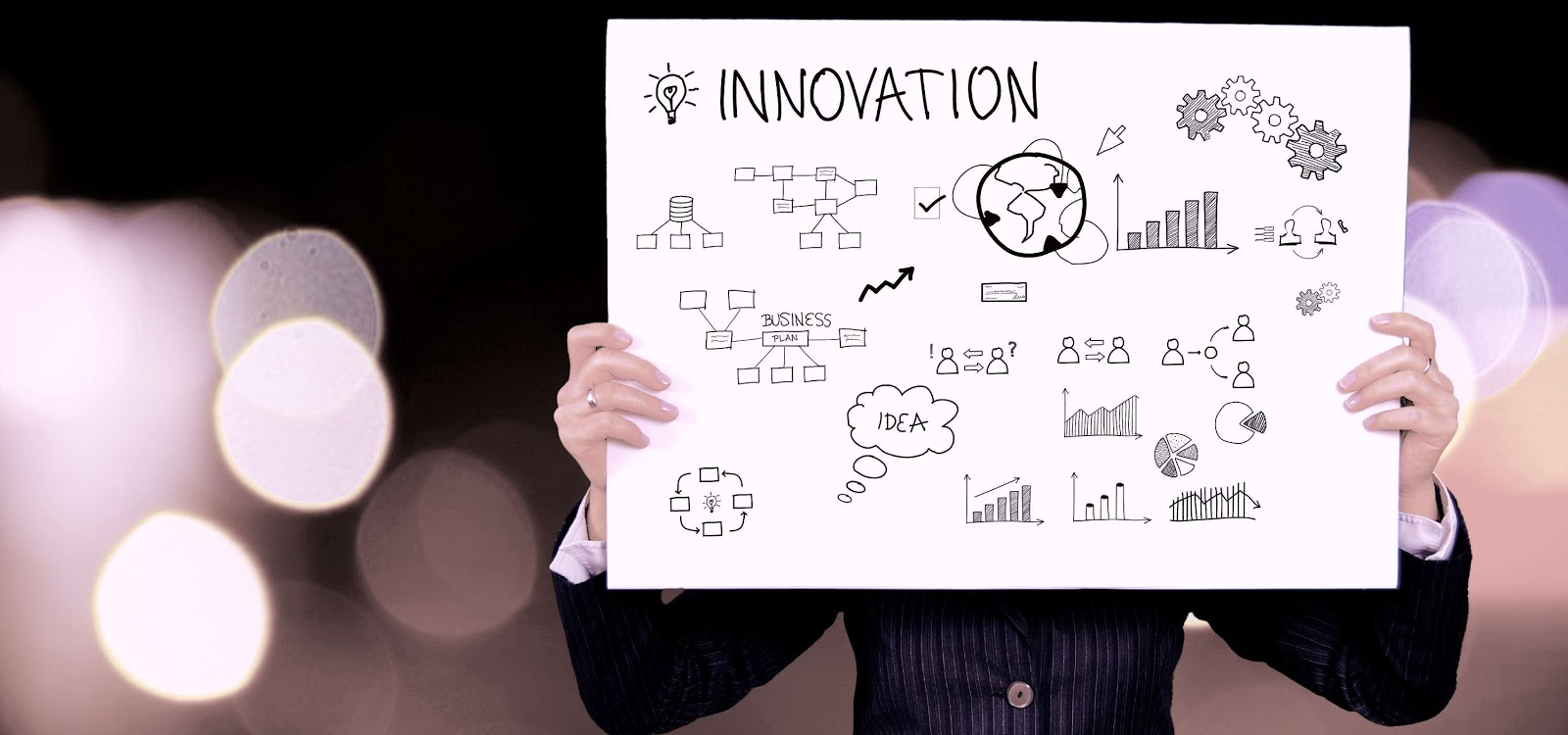 a person holding up a drawing board that says innovation with various drawings on it
