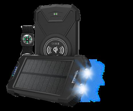 Powerplus Beluga - trådlös mobilladdare, kraftfull powerbank och LED-lampa i ett