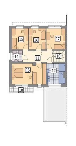 Przychylny - wariant II (bliźniak, z wentylacją mechaniczną) - BEC359b - Rzut piętra