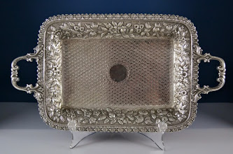 Photo: http://www.RareSterling.com RareSterlng.com - Kirk and Son Sterling Repousse Tray
