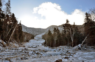 Photo: View up the icy track of the 2011 tributary.