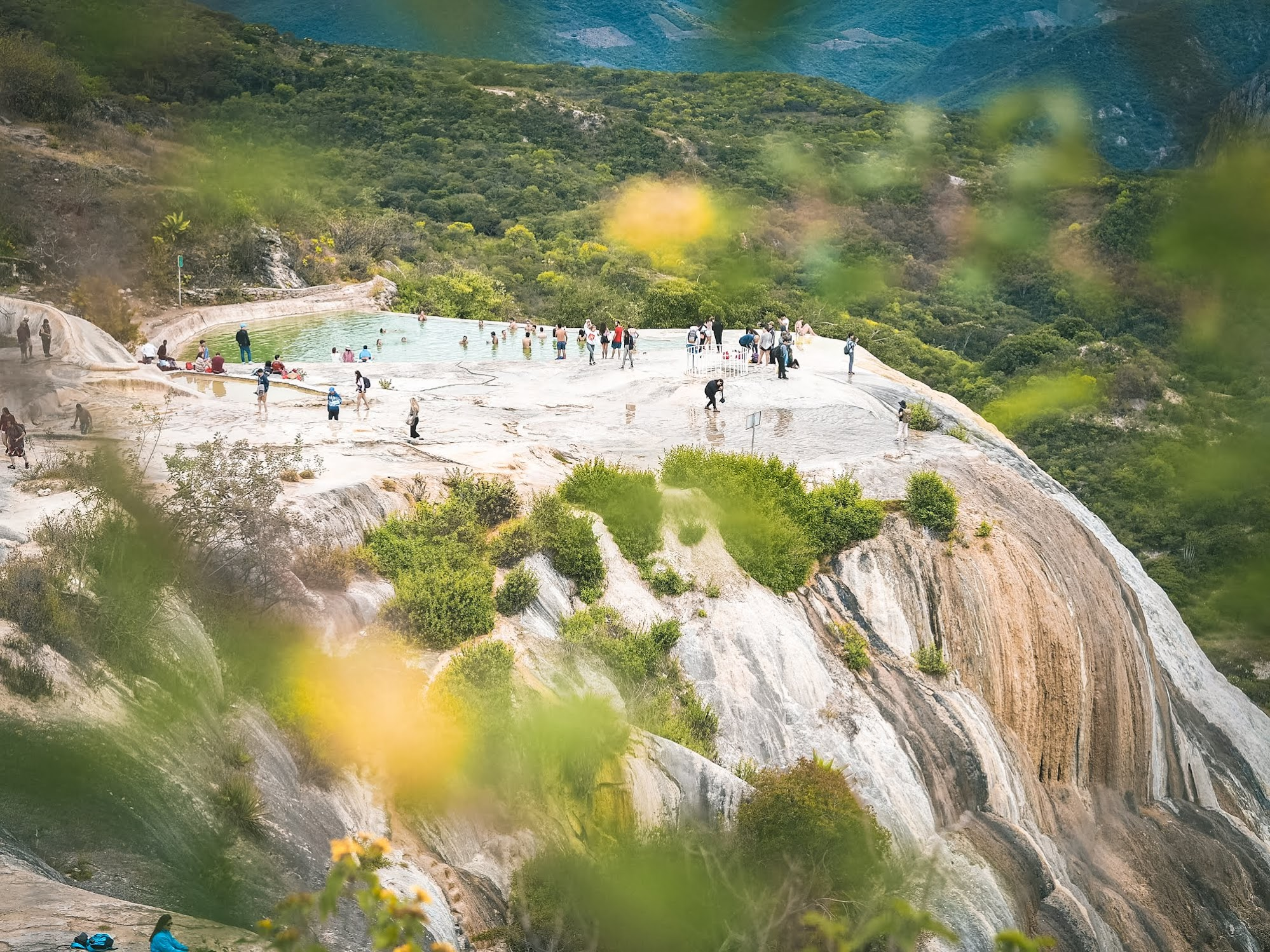 Swimming at the mineral pools at Hierve el Agua