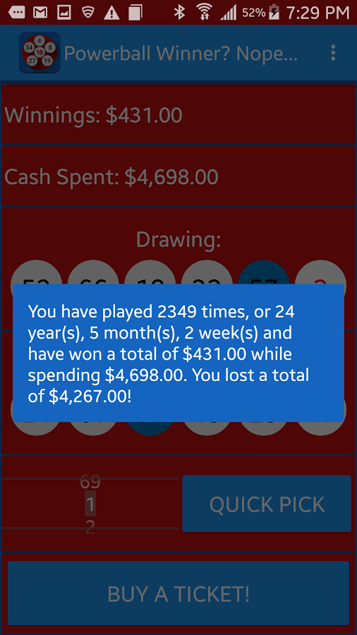 Win Powerball? Nope...- screenshot