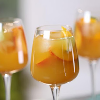 Riesling Sangria with Mango and Nectarine.