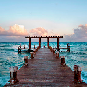 An Afternoon In The Pier by Esteban Rios - Landscapes Waterscapes ( ocean sea green waterscape, seascape )