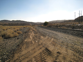 Photo: Looking east along the railroad. Last night, we tried to reach this spot via Basin Rd (a few miles east of this spot,) just to find a closed gate in the middle of the night.