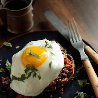 Chorizo Hash Stuffed Breakfast Mushrooms with Egg.