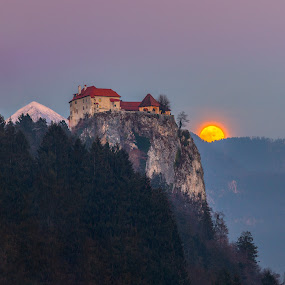Between the mountain and the moon by Bogy Urevc - Landscapes Sunsets & Sunrises