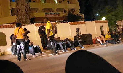 Room disservice: Zimbabwe's national rugby team slept on the street outside their hotel in Tunisia on Monday. Picture: TWITTER/ @PatieMusa