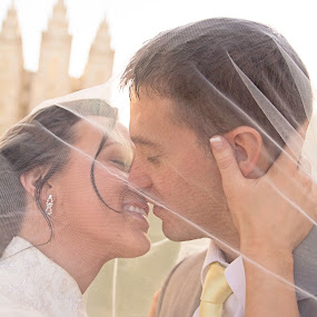 Through the Veil by Amber Welch - Wedding Bride & Groom ( kiss, wedding, veil, lds temple, bride, groom )