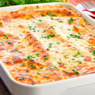 Cheesy Chicken Spinach and Artichoke Lasagna.