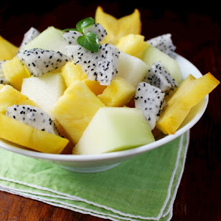 Tropical Fruit Salad with Honey Coconut Water Dressing.