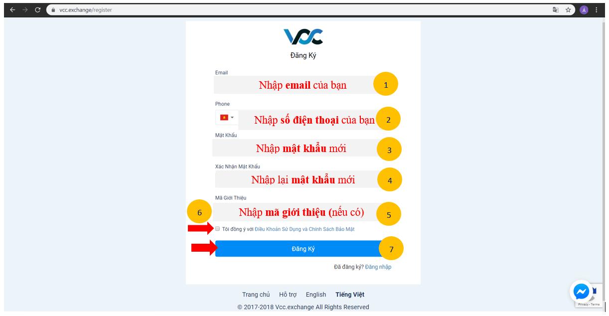 Hướng dẫn sàn VCC Exchange